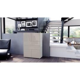 Armoire commode design blanche  et  grise sablée  76 cm
