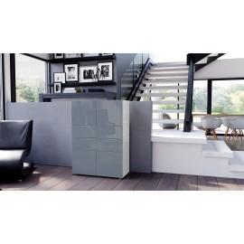 Armoire commode design blanche  et  grise  76 cm
