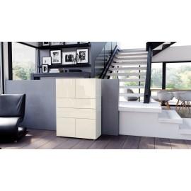 Armoire commode design blanche  et  crème   76 cm