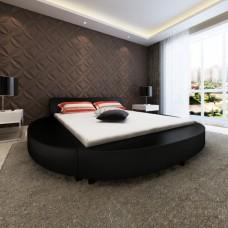 Lit rond en simili cuir Noir 180 x 200 cm avec matelas