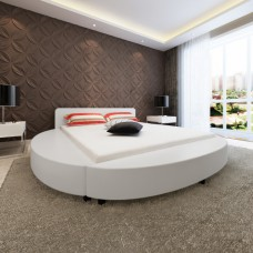Lit rond en simili cuir Blanc 180 x 200 cm avec matelas