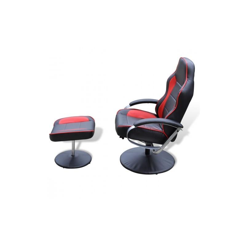 fauteuil en simili cuir avec repose pied noir et rouge ja discount. Black Bedroom Furniture Sets. Home Design Ideas