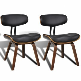 Ensemble de 2 chaises en simili cuir avec dossier