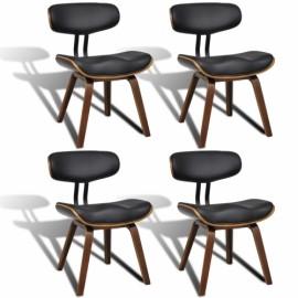 Ensemble de 4 chaises en simili cuir avec dossier