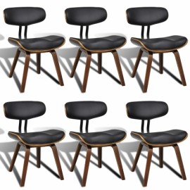 Ensemble de 6 chaises en bois et PU