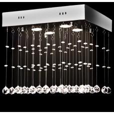 Lustre plafonnier design carré 100 cristaux