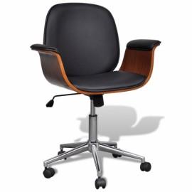 Chaise pivotante réglable  avec accoudoir en cuir artificiel