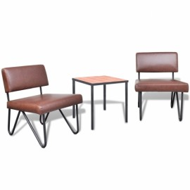 Lot de 2 chaisen brun en simili cuir et table basse