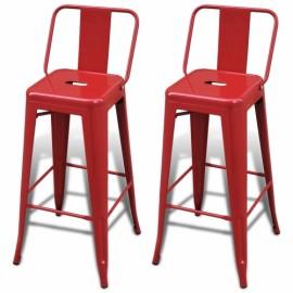 Ensemble  de 2 de Tabourets de Bar hauts avec dossier coloris  rouge