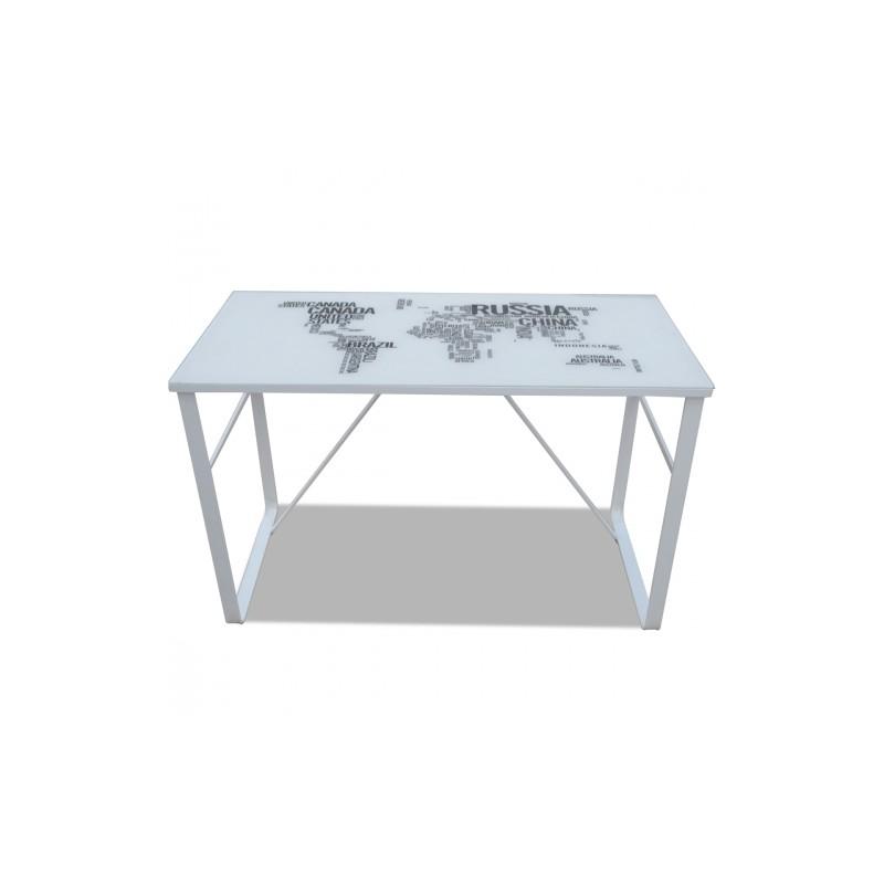 bureau rectangulaire imprim carte du monde plateau en verre. Black Bedroom Furniture Sets. Home Design Ideas