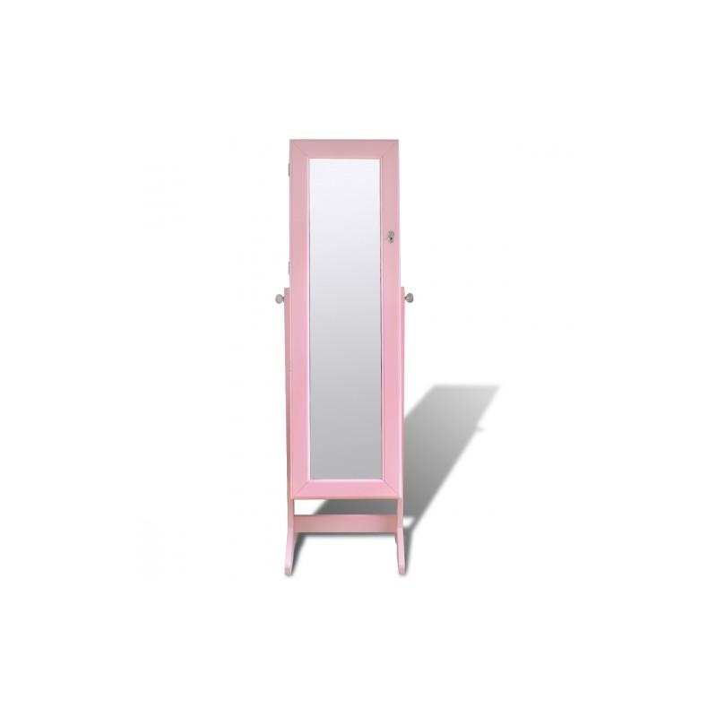 armoire bijoux sur pied avec miroir et clairage led couleur rose. Black Bedroom Furniture Sets. Home Design Ideas