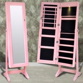 Armoire à bijoux sur pied avec miroir et éclairage led couleur rose