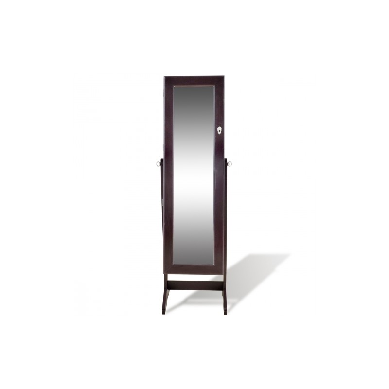 armoire bijoux sur pied avec miroir et clairage led couleur brun. Black Bedroom Furniture Sets. Home Design Ideas