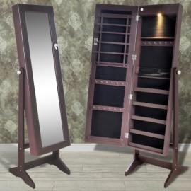 Armoire à bijoux sur pied avec miroir et éclairage led couleur brun