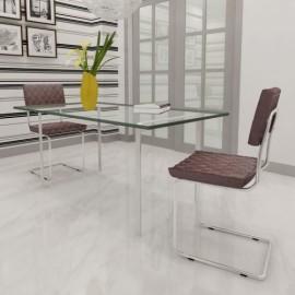 Set de 2 chaises brun pour salle à manger ou cuisine