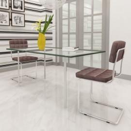 Set de 2 chaises design pas cher brun pour salle à manger