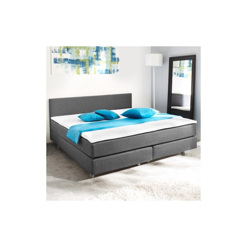 lit 140 x 200 cm avec matelas gris et noir. Black Bedroom Furniture Sets. Home Design Ideas