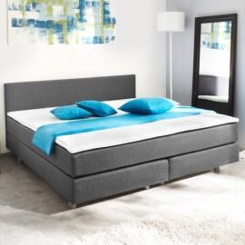 Lit 140 x 200 cm avec matelas gris et noir