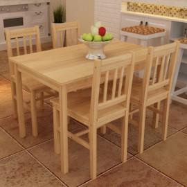 Ensemble de 4 chaises et une table en bois naturel