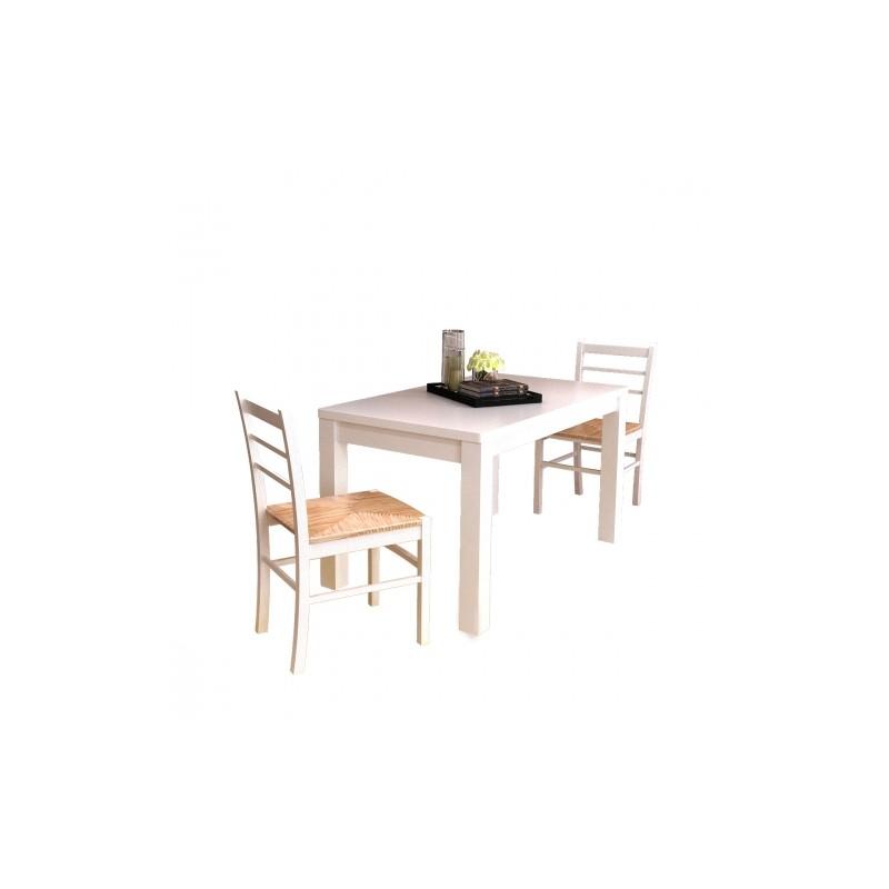 set de 2 chaises en bois peint en blanc ja discount. Black Bedroom Furniture Sets. Home Design Ideas