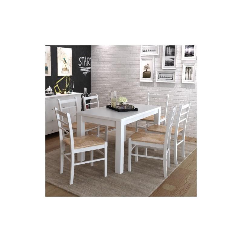 Set de 2 chaises en bois peint en blanc ja discount - Chaises en bois blanc ...
