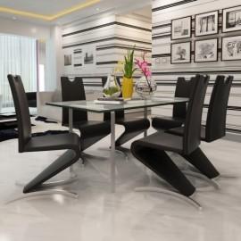 Ensemble de 6 chaises modernes de salle à manger noir piends H