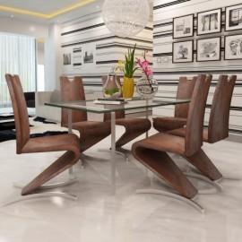 Ensemble de 6 chaises brun design piends en H