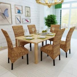Ensemble de 6 chaises en feuilles de bananier