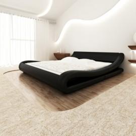 Lit vague en simili cuir noir 140 x 200 cm