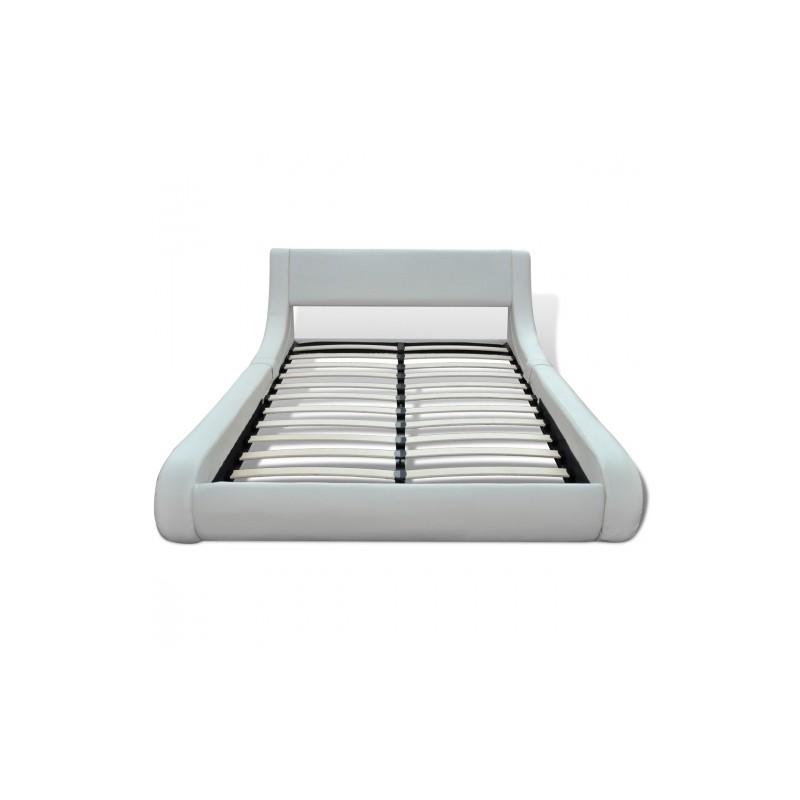 Lit Vague En Simili Cuir Blanc X CM - Lit vague 180x200