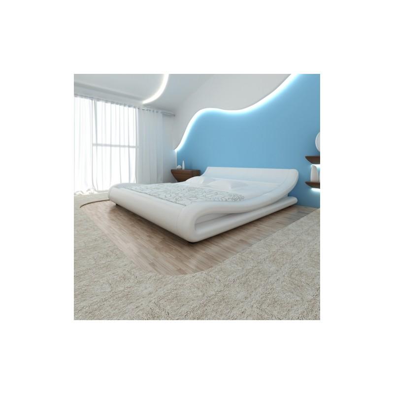 lit vague design blanc avec matelas 140 x 200 cm. Black Bedroom Furniture Sets. Home Design Ideas
