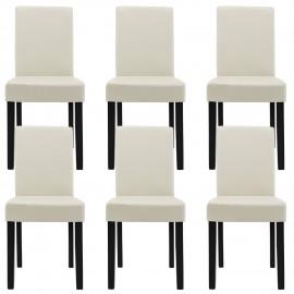 Ensemble de 6 chaises design ivoire avec les pieds en bois massif