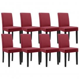 Set  de 8 chaises en simili cuir rouge