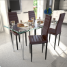 Ensemble de 4 chaises brun avec table en verre