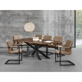 Table de salle à manger en bois et fer 200 x 100 cm