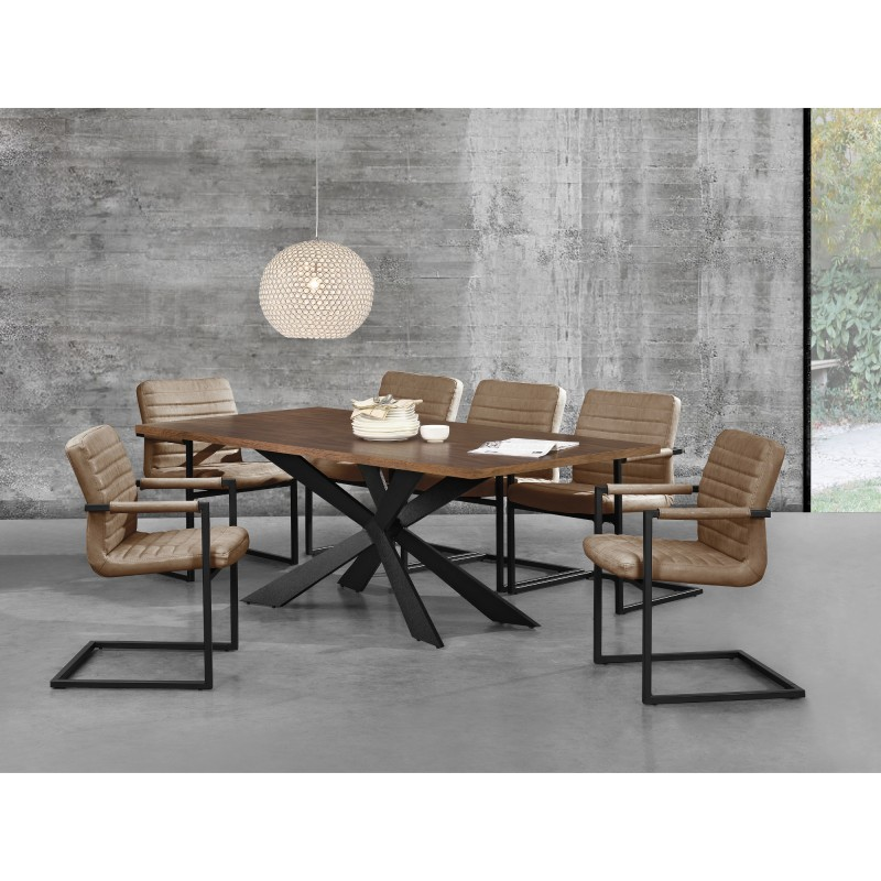 table de salle manger en bois et fer 200 x 100 cm ja discount. Black Bedroom Furniture Sets. Home Design Ideas