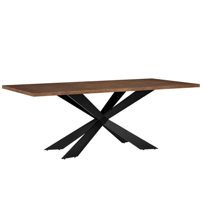 Table de salle manger en bois et fer 200 x 100 cm ja discount - Table salle a manger bois et fer ...