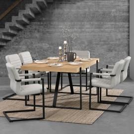 Table en bois et fer 180 x 100 cm