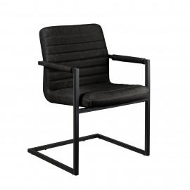 6 chaises en PU noir avec accoudoirs