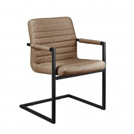 Lot de chaises brun en PU et pieds en fer