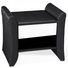 Table de chevet design  noir en simili cuir