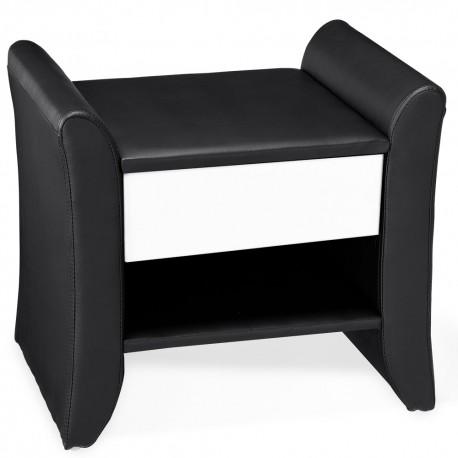 table de chevet design noir en simili cuir. Black Bedroom Furniture Sets. Home Design Ideas