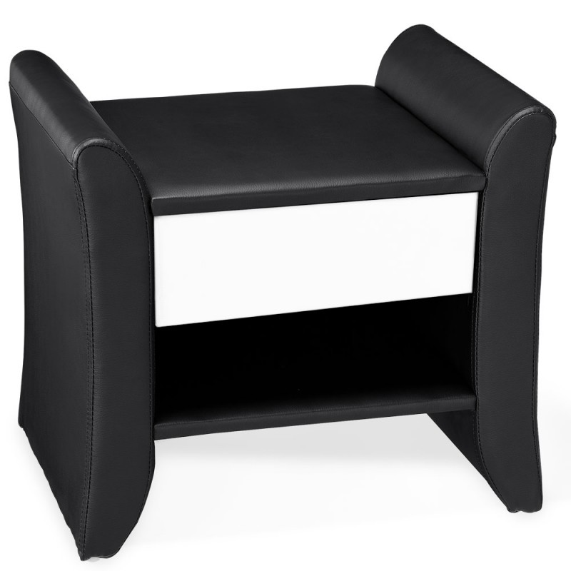 table de chevet design noir en simili cuir. Black Bedroom Furniture Sets. Home Design Ideas
