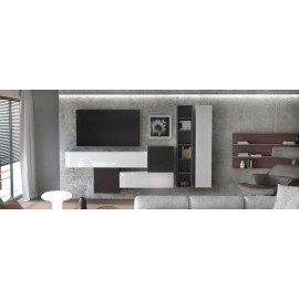 Ensemble de 6 meubles suspendus noir mat / blanc mat + blanc et noir  laqué