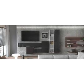 Ensemble de 6 meubles suspendus blanc mat +  noir  brillant