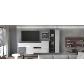 Ensemble de 6 meubles suspendus noir  mat +  blanc  brillant