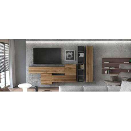 Ensemble de 6 meubles suspendus noir mat / aspect  chêne wotan