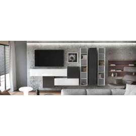 Ensemble de 7  meubles suspendus noir mat / blanc mat + blanc et noir  laqué