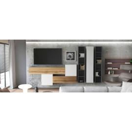 Ensemble de 7  meubles suspendus noir et blanc mat / aspect  chêne wotan + blanc laqué