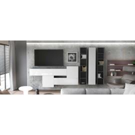 Ensemble de 7  meubles suspendus  blanc mat + blanc laqué